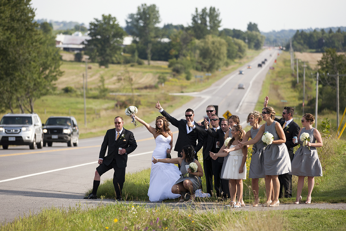 Bridal Party hitchhiking