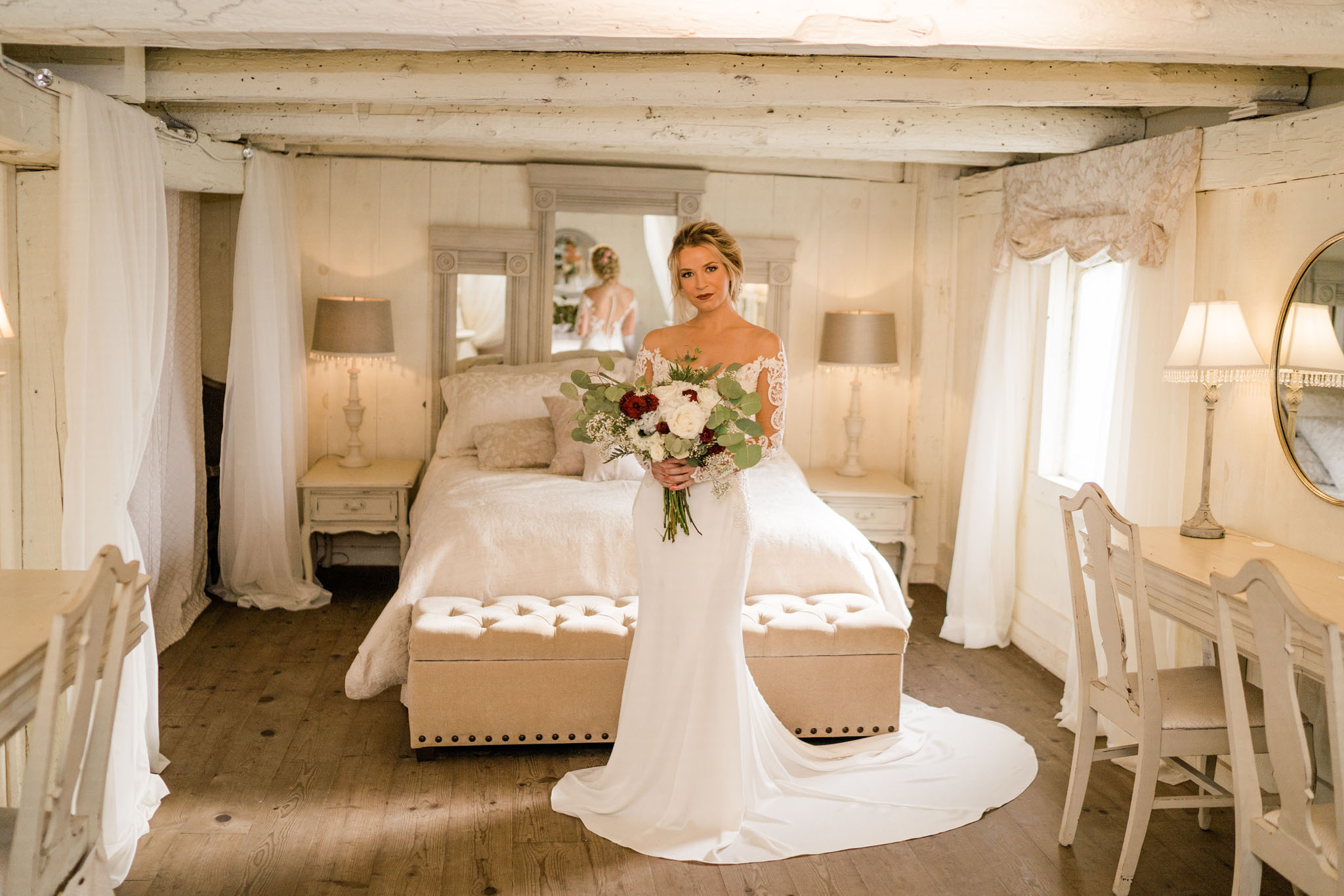 Gorgeous bride in bridal sweet getting ready for her big day.