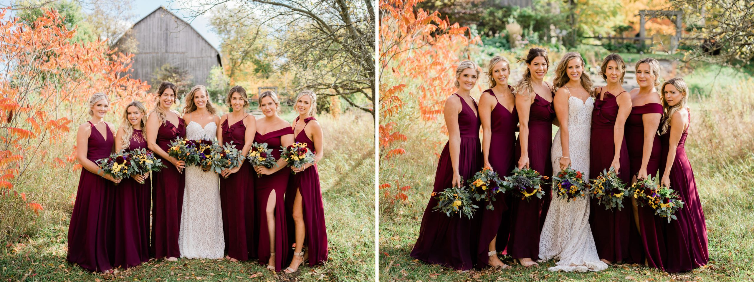 bridal party at Century Barn