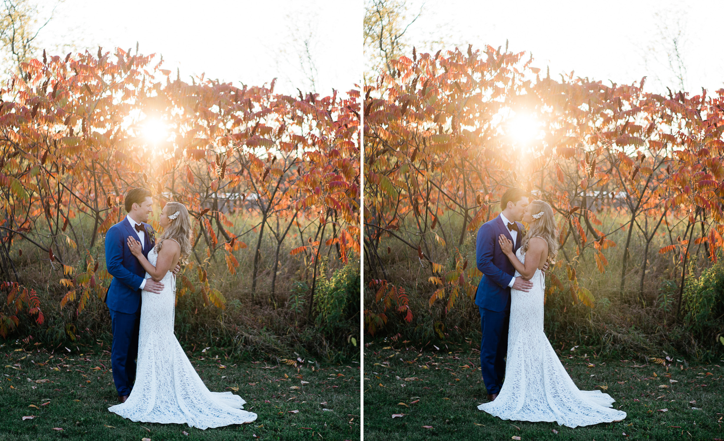 sunset wedding photo at Century Barn weddings