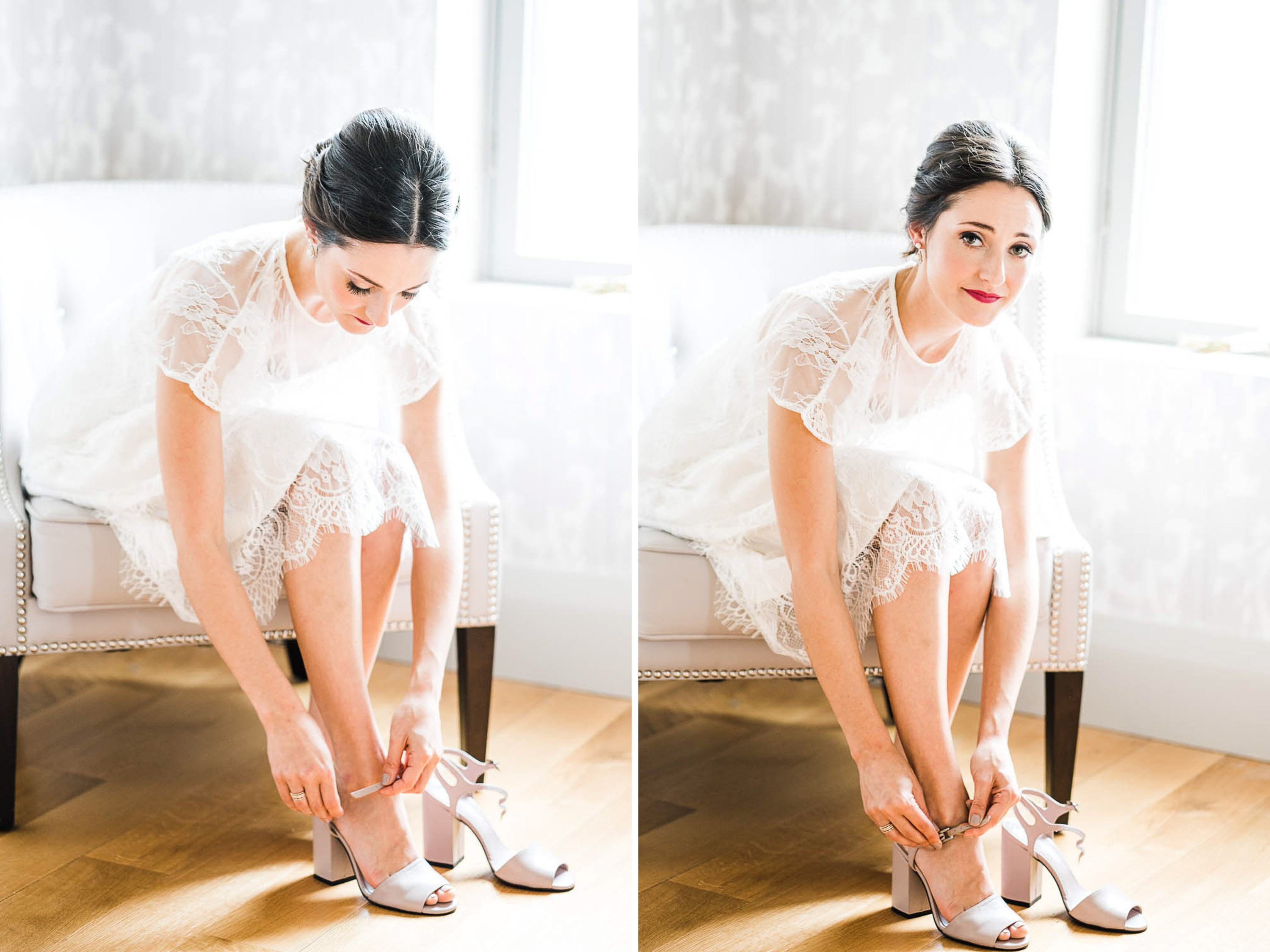 Bride in simple white dress putting shoes on. Sunlight streaming through window.