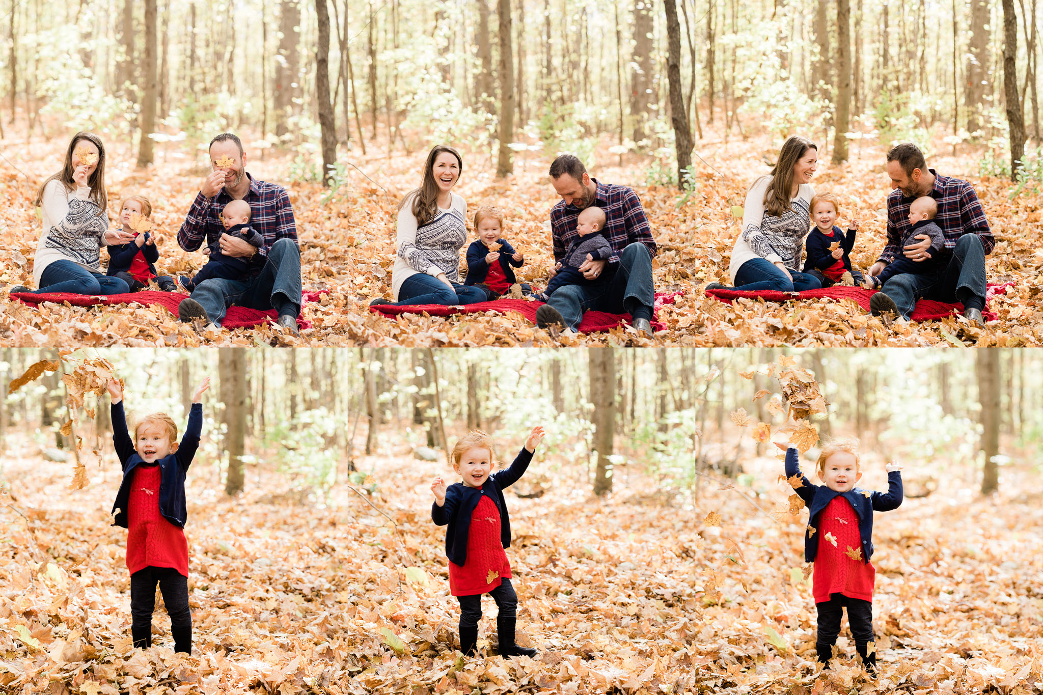 Fall family pics with two little ones playing in the leaves.