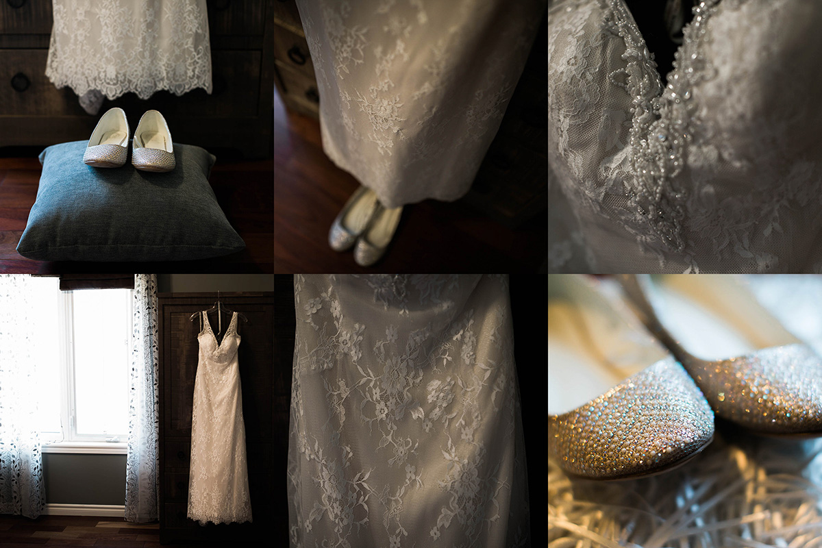 Multiple images of bride dress and shoes.
