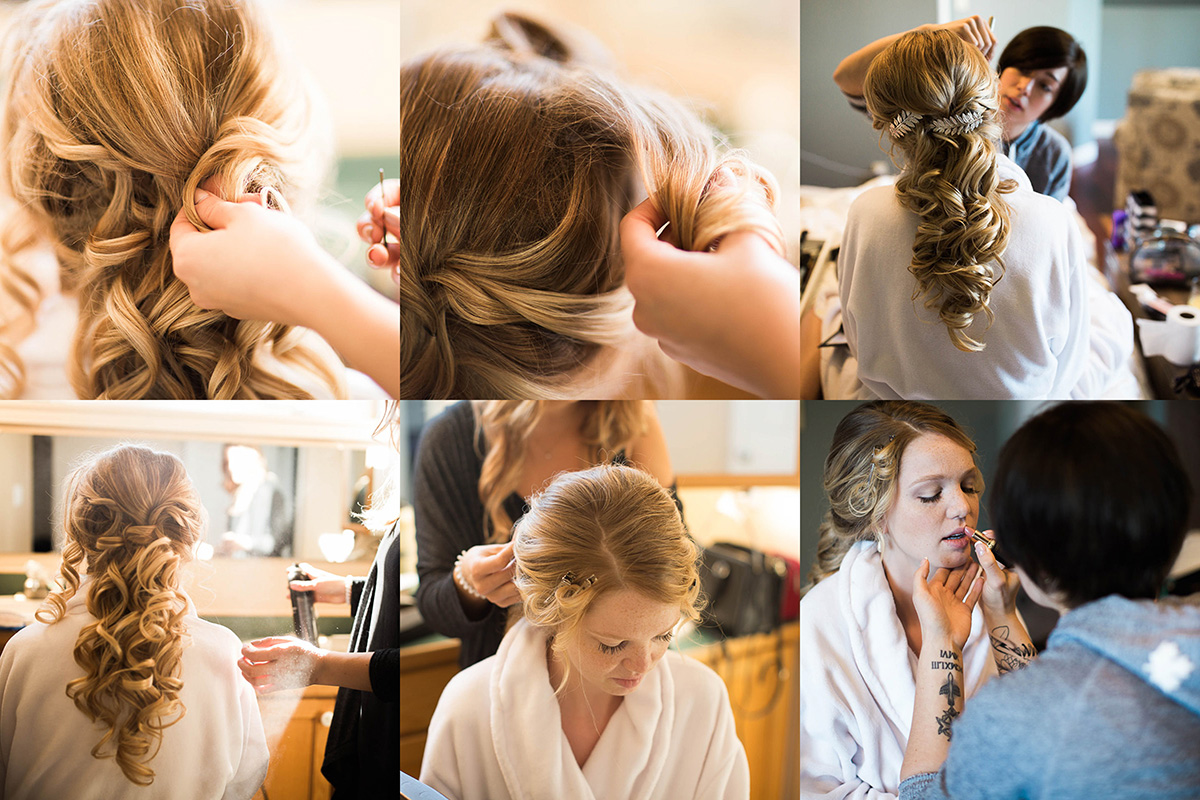 Images of bride having hair and makeup done.