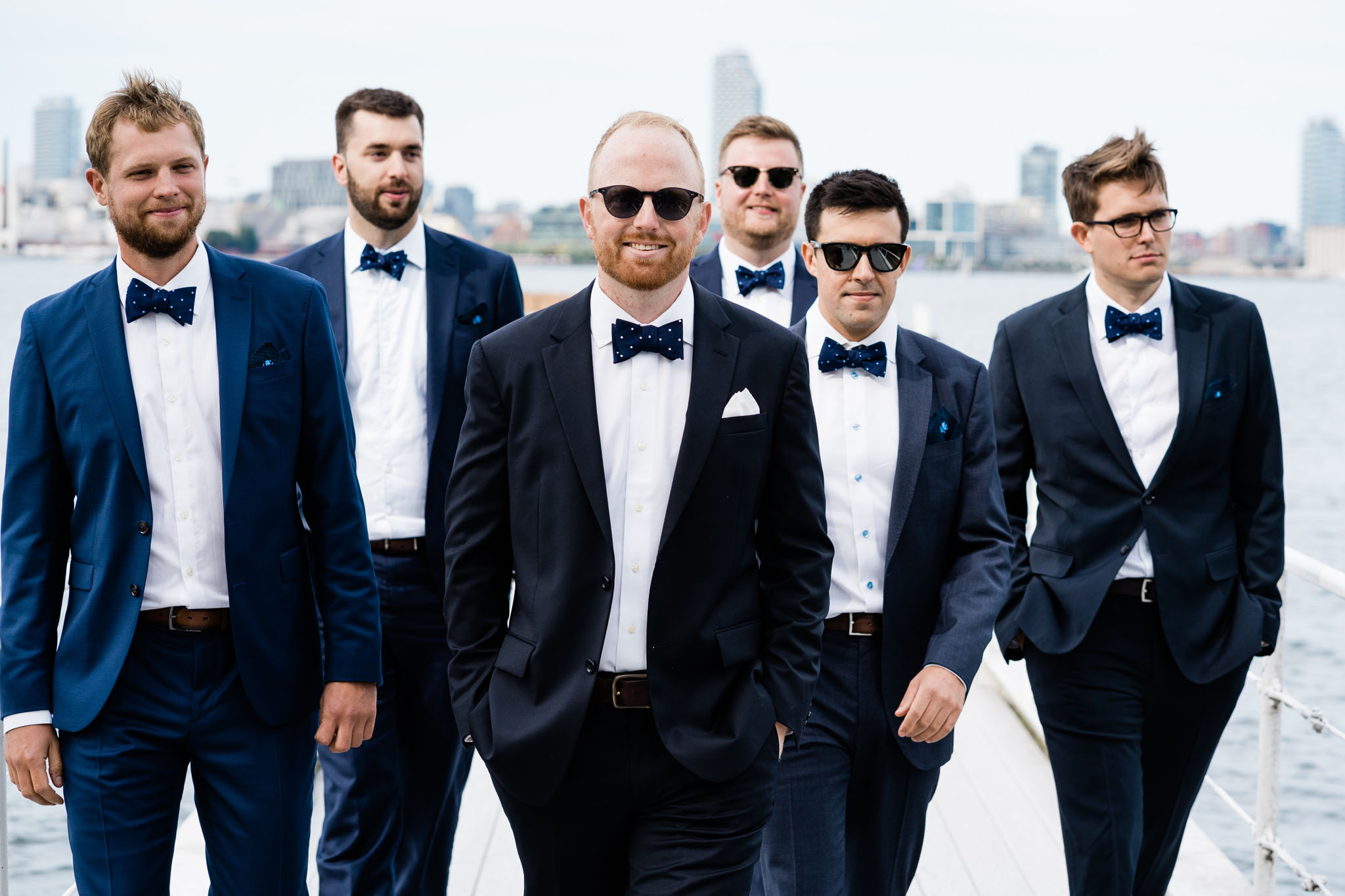 The groomsmen looking cool like Risky Business!