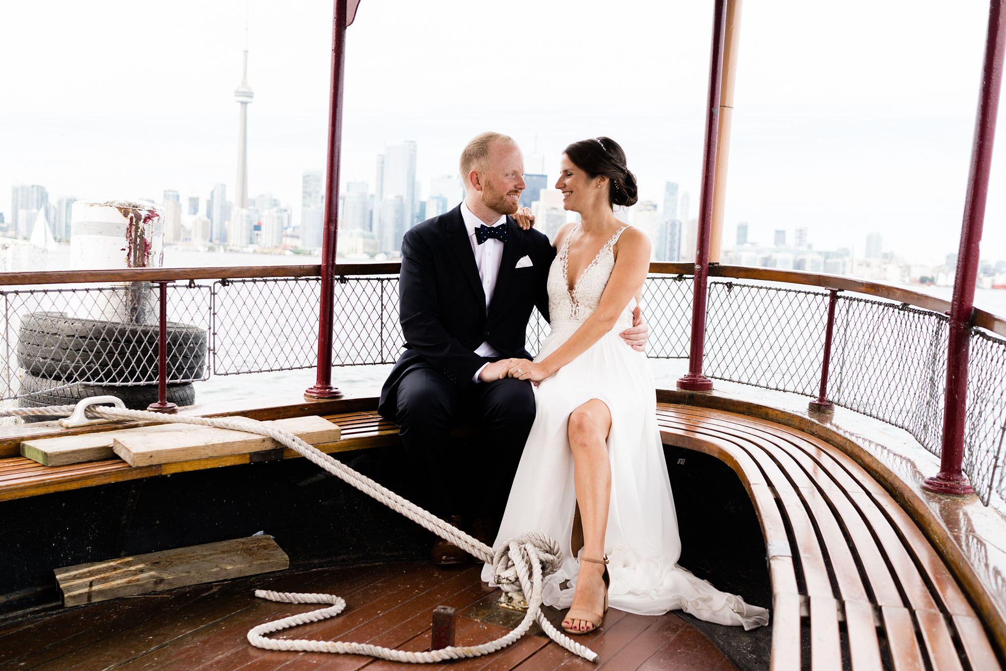 Before you arrive at the RCYC you must take a short ferry ride. This pic is of the happily married couple riding back to the Big City after they said their I Do's