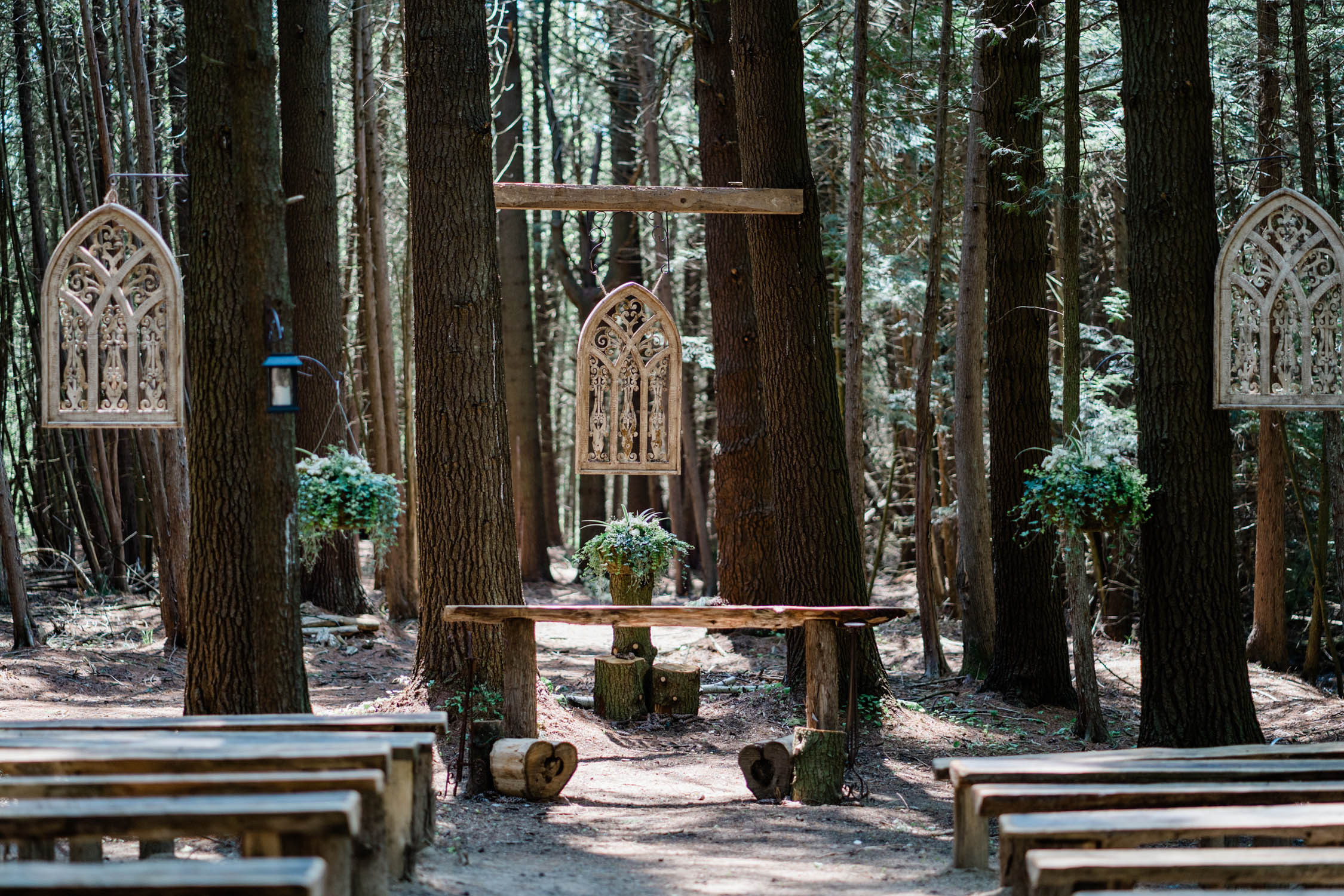 Forest alter set up at Whispering Springs.